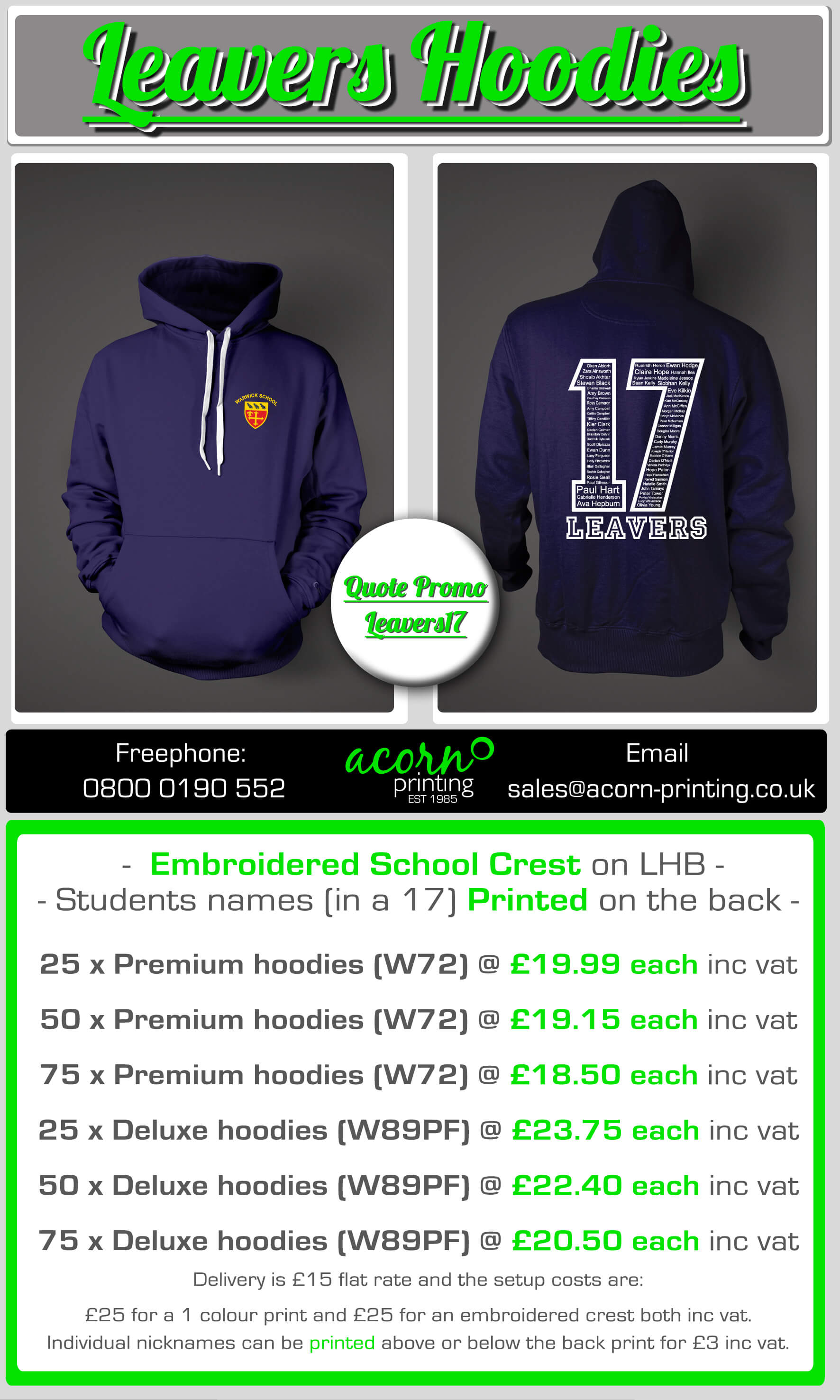 2017 school leavers hoodies personalised