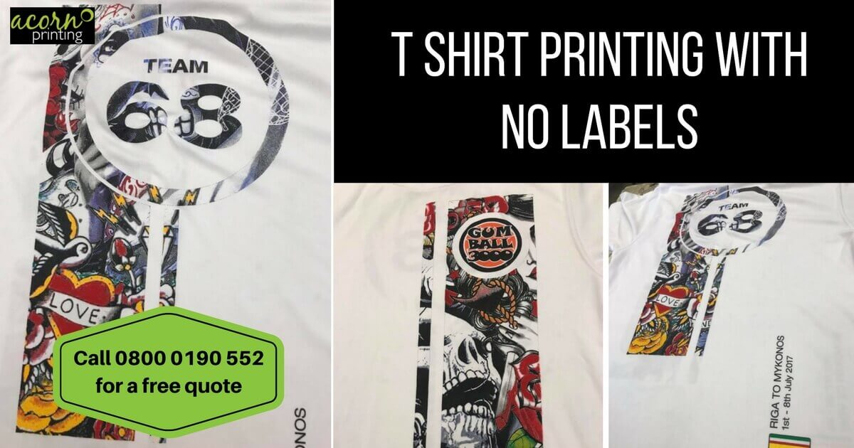 T Shirt Printing with no labels