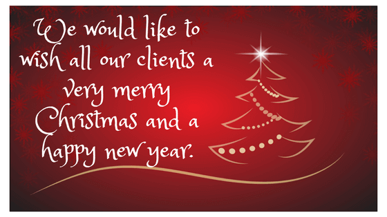 We would like to wish all our clients a very merry Christmas and a happy new year.
