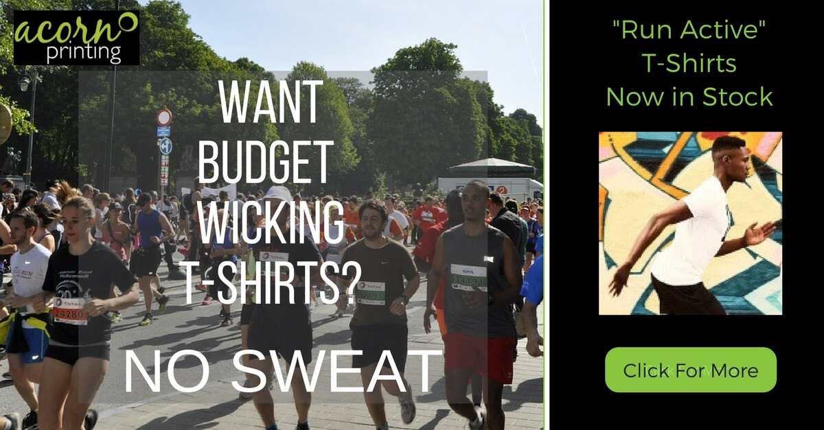 Budget wicking t-shirts printed or embroidered. Ideal for charity runs