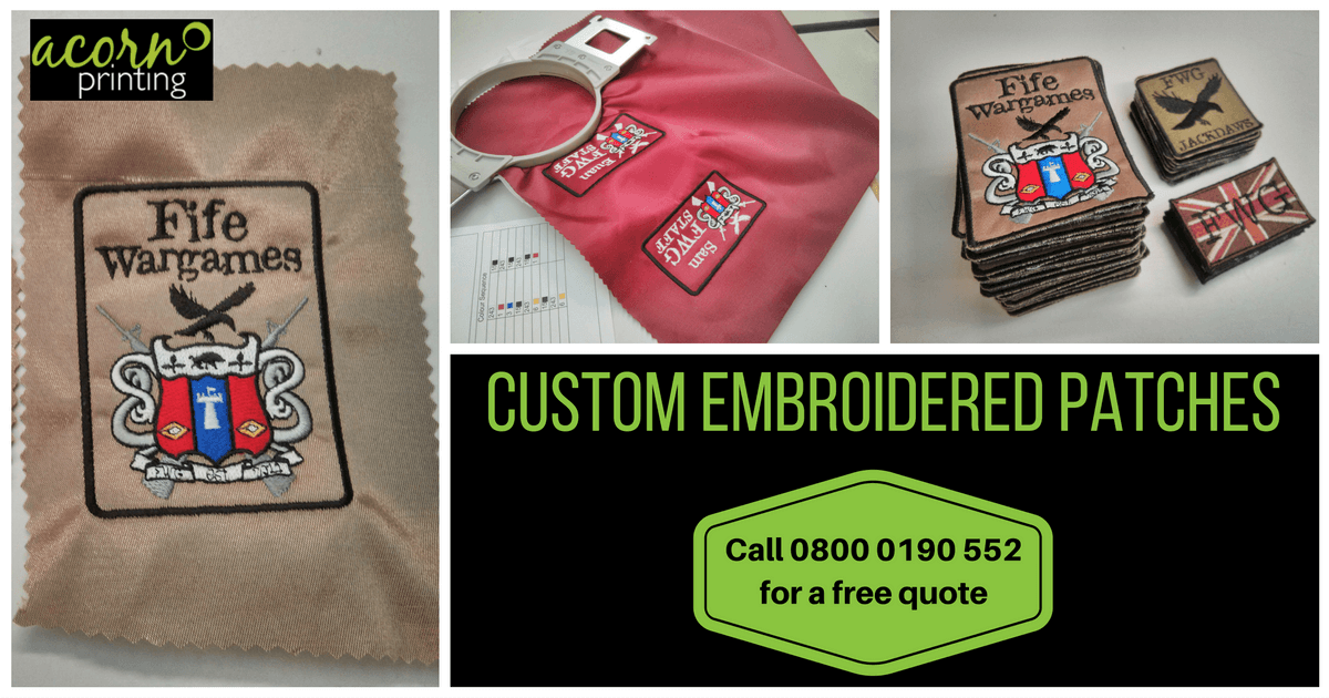 Custom embroidered patches by Acorn Printing. Just send us your design
