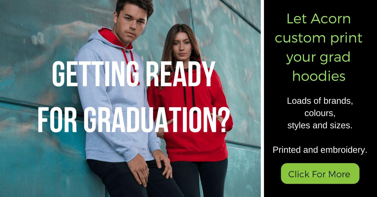 Custom printed graduation hoodies available from Acorn Printing