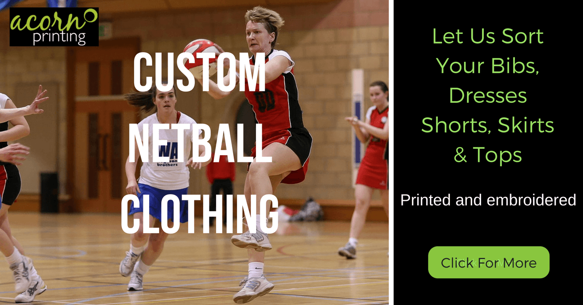 Custom printed and embroiderd netball clothing and sportswear
