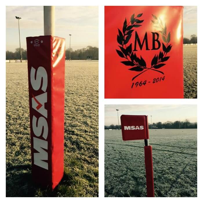 Printed rugby club signage posts and flags