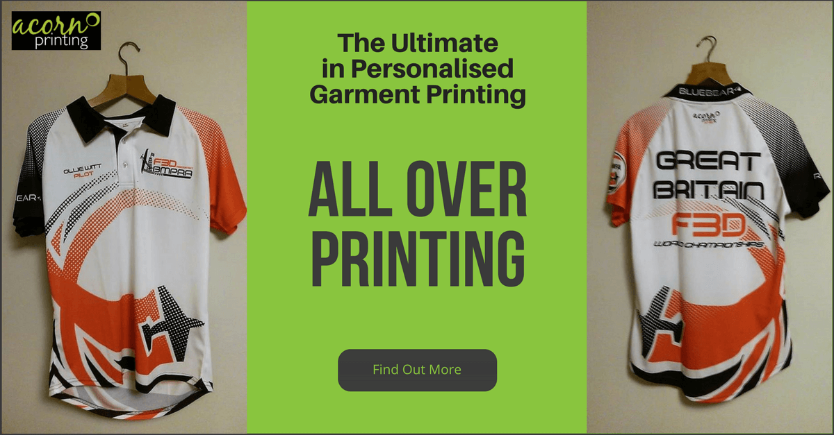 All over printing - Dye sublimation printing for the ultimate in personalised garments. T-shirts and polo shirts
