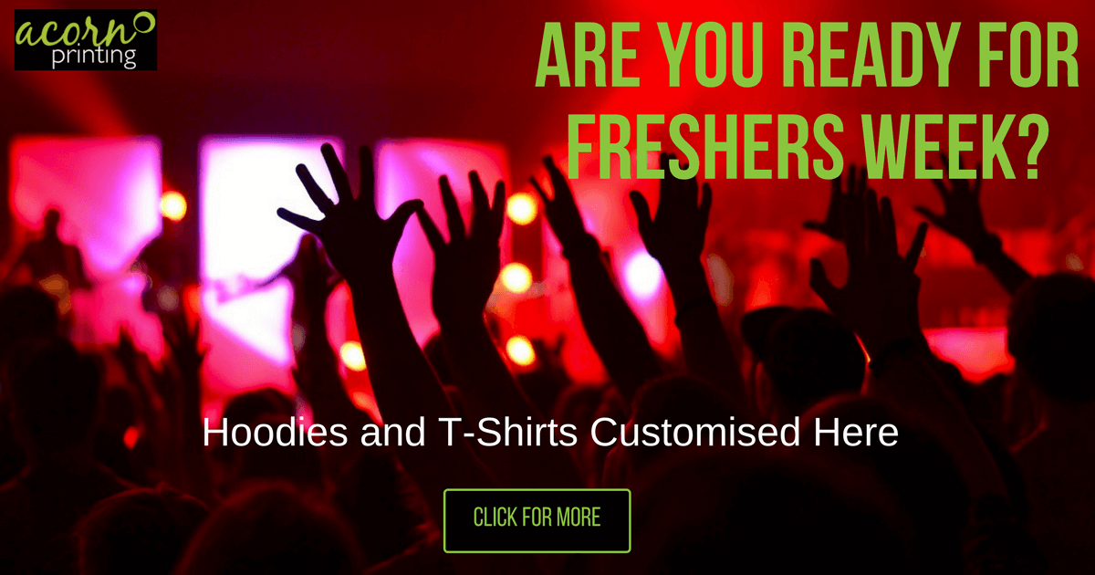 Customised Freshers Hoodies and T-Shirts. Print and embroider