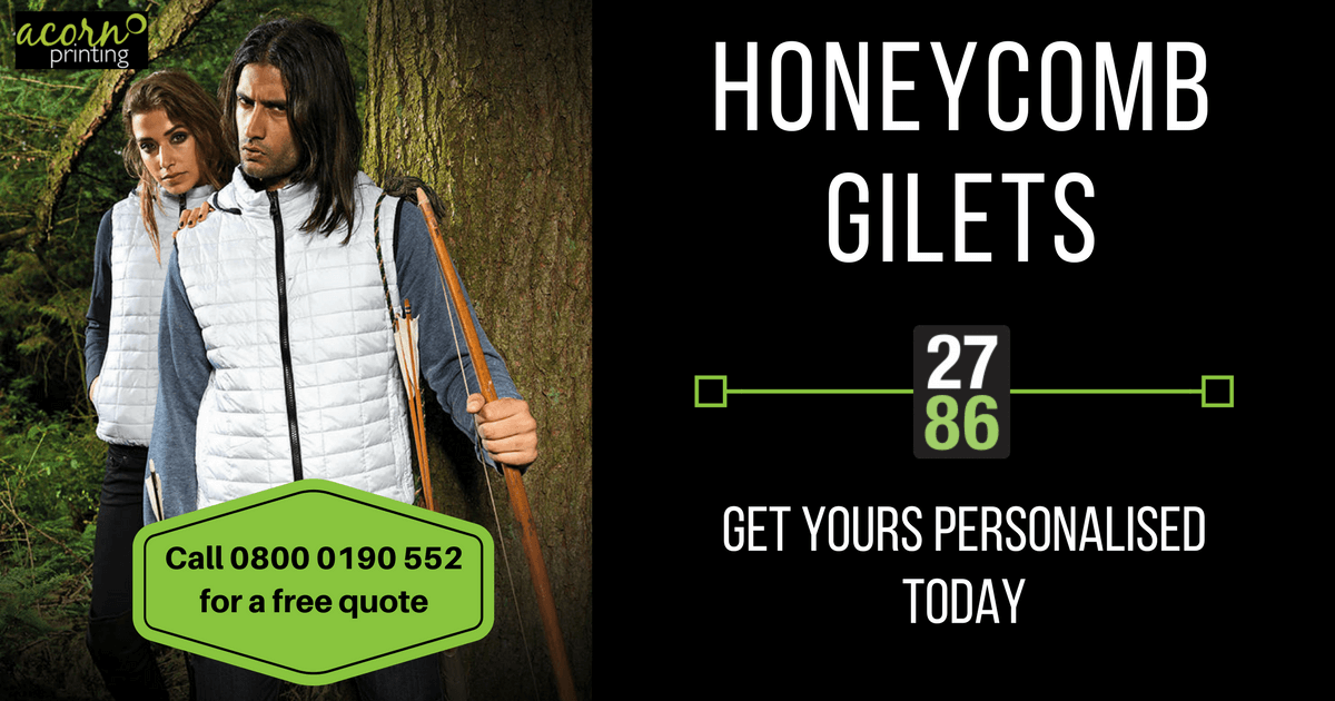 Personalised your 2786 honeycomb style gilet with print and embroidery from Acorn Printing