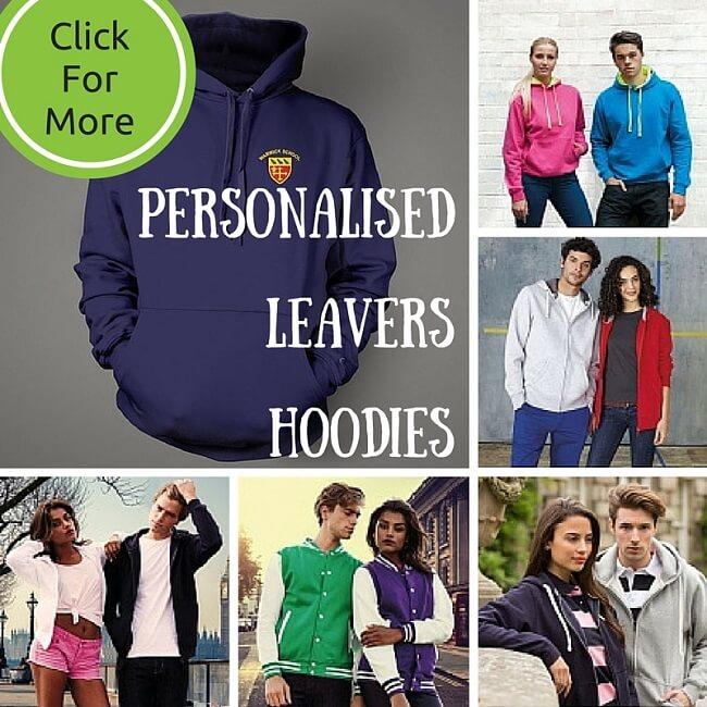 Leavers hoodies personalised. Print or embroidery