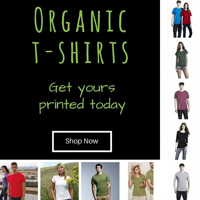 organic t-shirts printed and embroidered to personalise for you