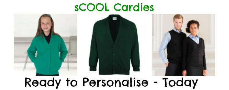 Personalised school cardigans - printed or embroidered