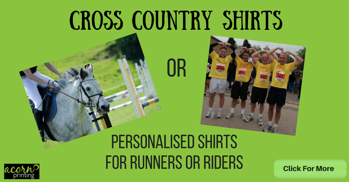 printed cross country shirts for runners and riders - print or embroider