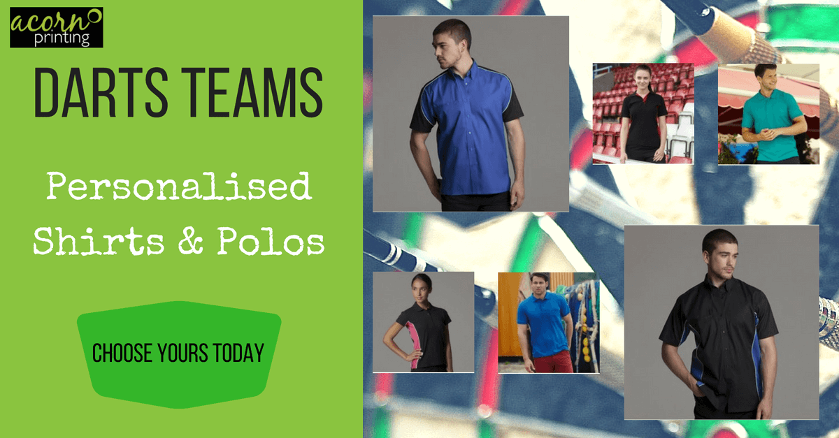 Personalised darts shirts and polo shirts. Printed and embroidered for your team