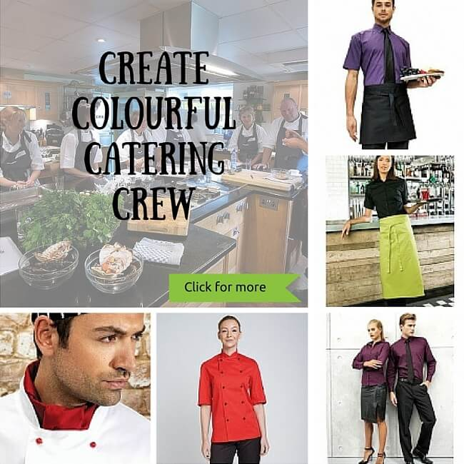 personalised coloured hospitality wear for your catering team