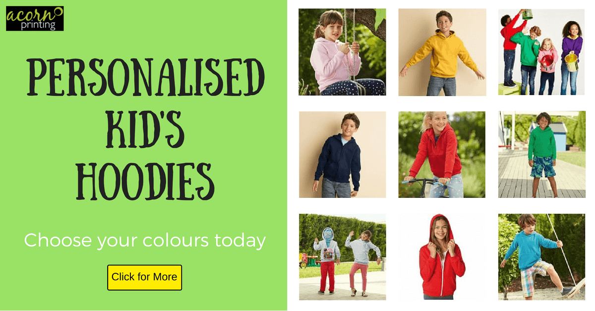 Personalised hoodies for kids. Lots of styles, sizes and colours. Printed or embroidered