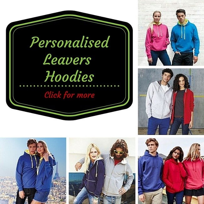 personalised university and college leavers hoodies printed and embroidered