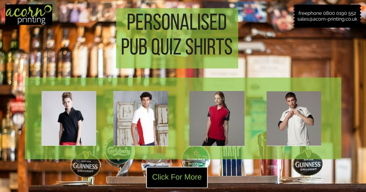personalised pub quiz shirts
