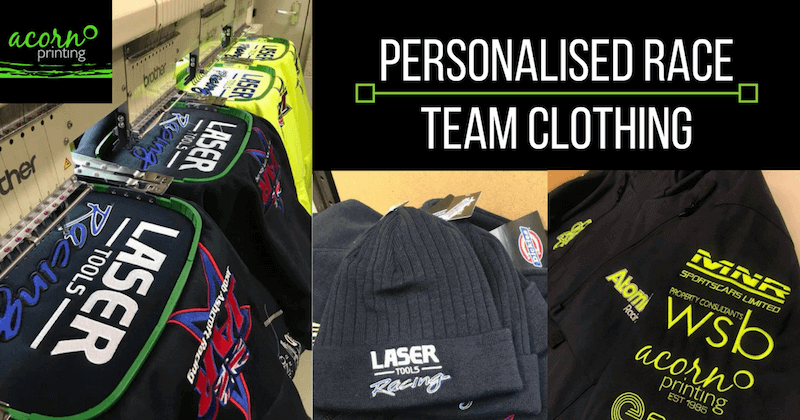 personalised race team clothing