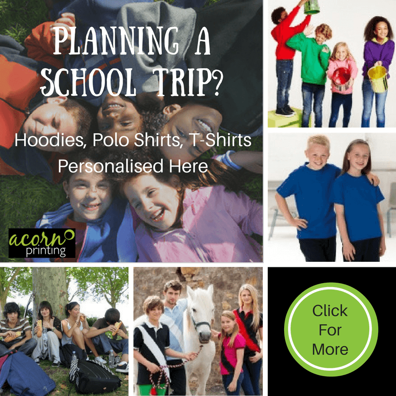 Personalised hoodies, polo shirts and t-shirts for your next school trip