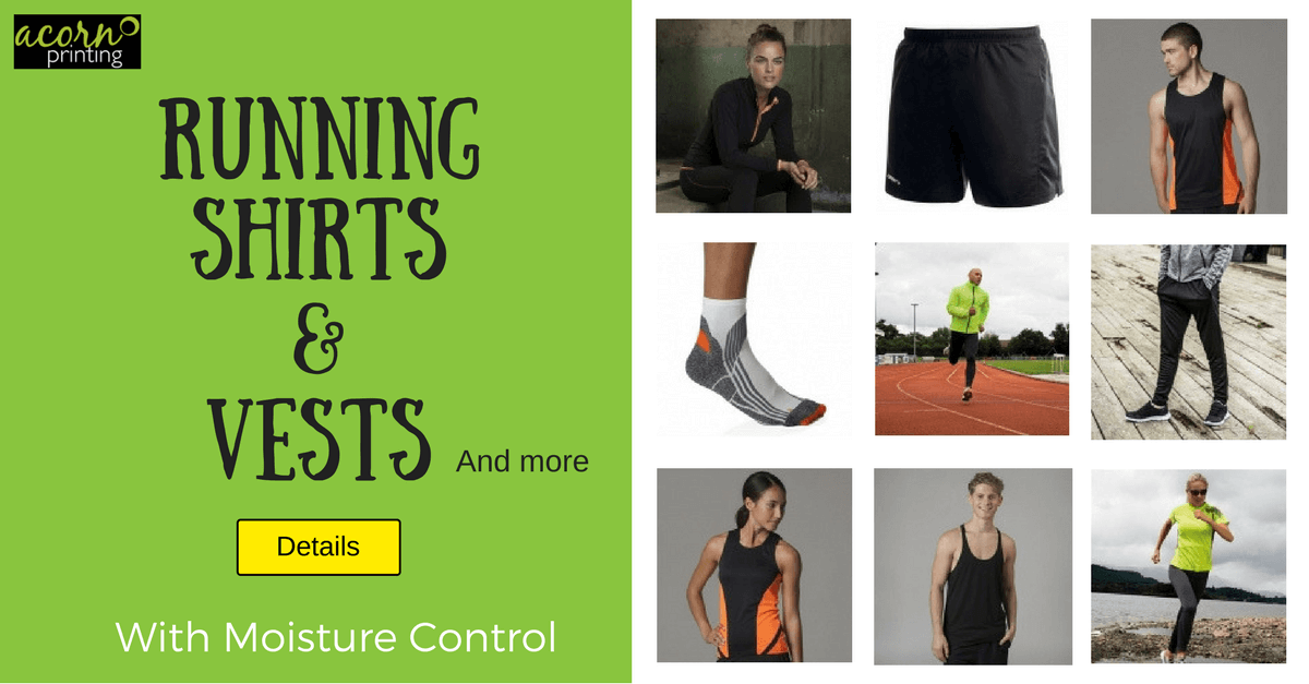 Personalised running shirts and vests with added moisture control.