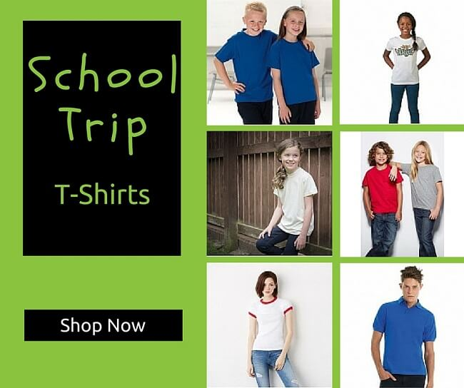 School trip t-shirts personalised and printed