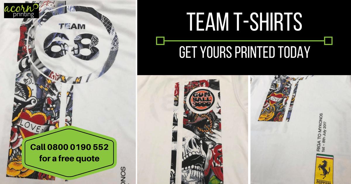 team shirts custom printed. Race teams, rally teams, auto sports of every variety