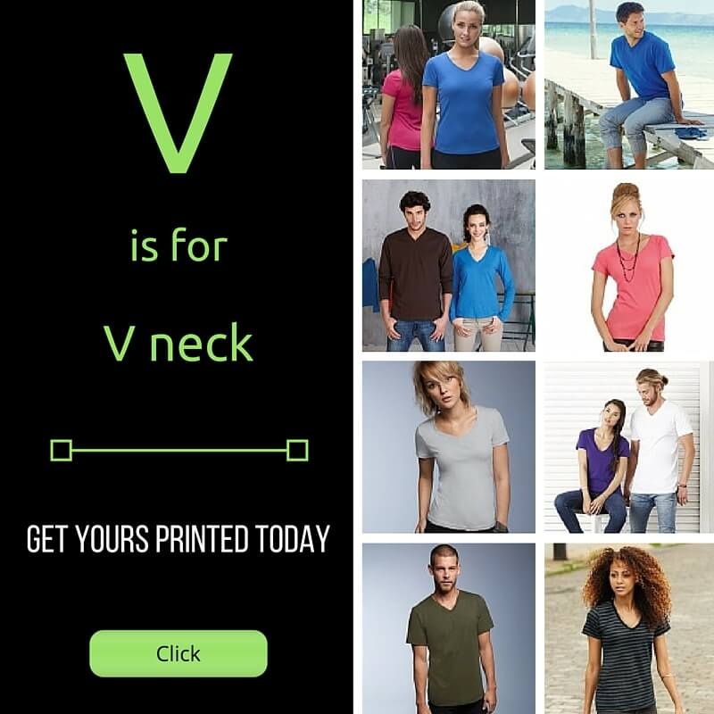 v neck tee shirts printed or embroidered